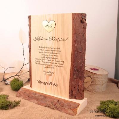 Ślubna statuetka drewno z korą SD015