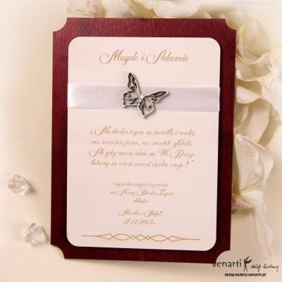 Drewniany dyplom ślubny D005
