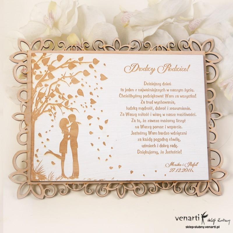 Drewniany dyplom ślubny D007a