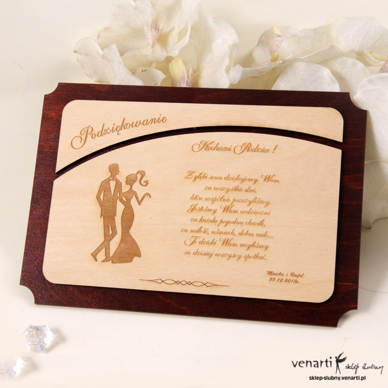 Drewniany dyplom ślubny D006
