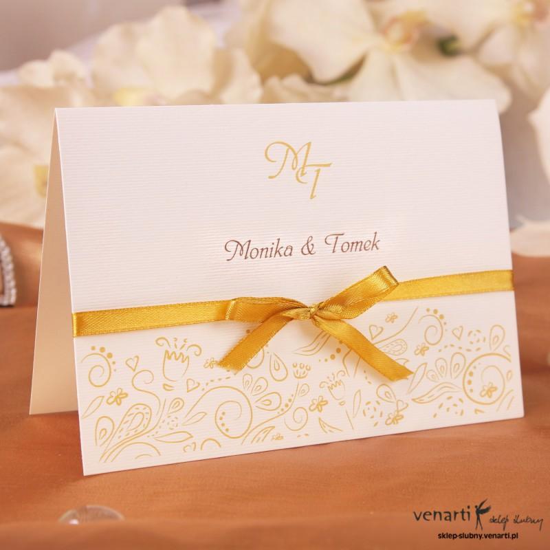 Zaproszenie ślubne wzorki ze wstążką