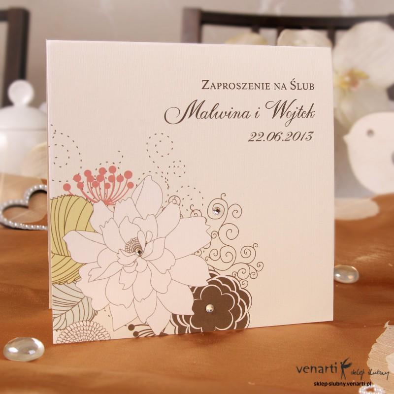 Zaproszenie ślubne Kwiaty ecri