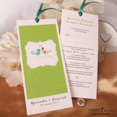 Zaproszenie ślubne Ptaszki z kropkami