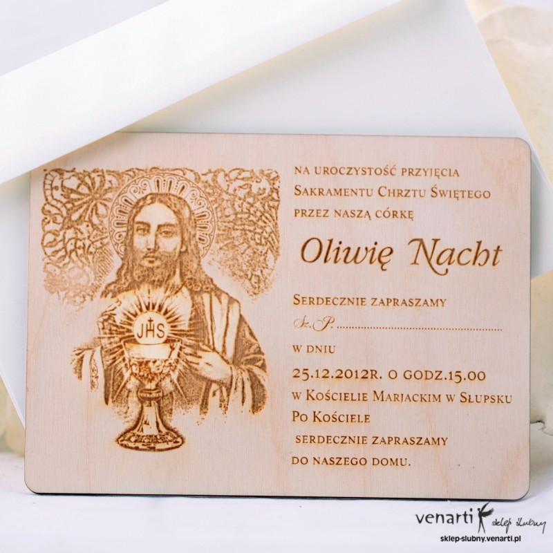 Drewniane zaproszenie chrzest/komunia DKCH001
