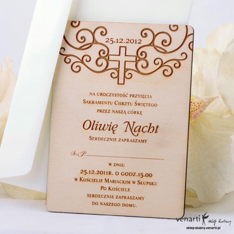 Drewniane zaproszenie chrzest/komunia DKCH002