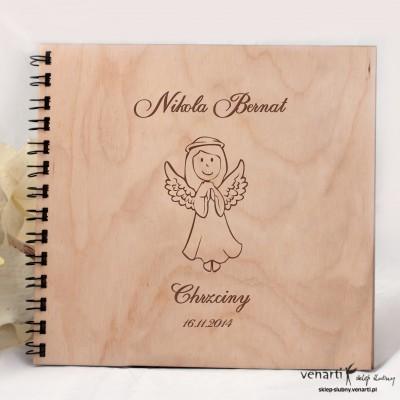 Drewniany album komunia/chrzciny