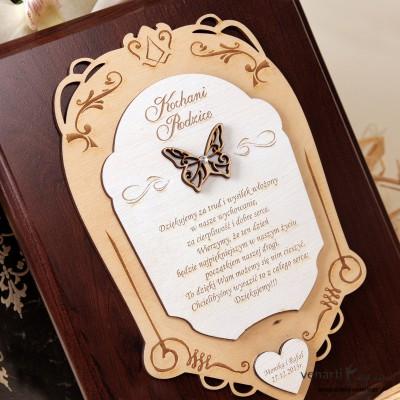 Drewniany dyplom ślubny D010