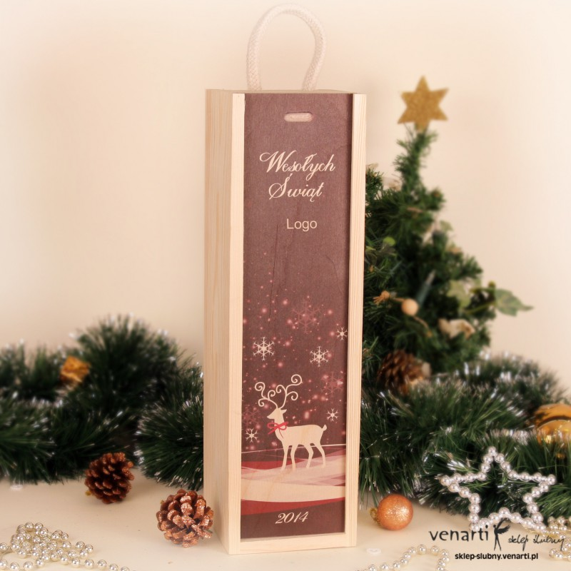 Świąteczna skrzynka na wino nadruk SWSKMN003