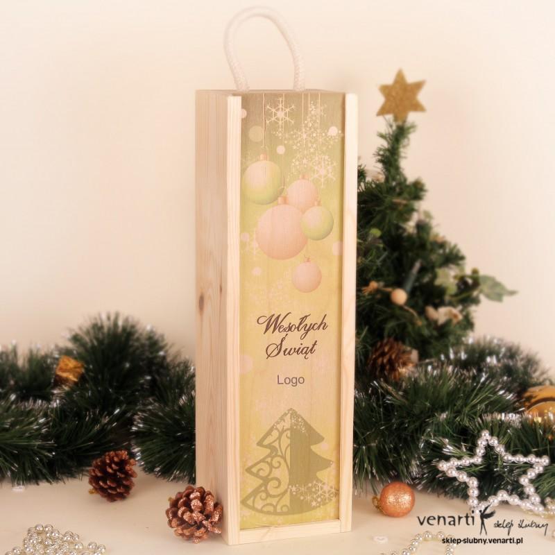 Świąteczna skrzynka na wino nadruk SWSKMN005
