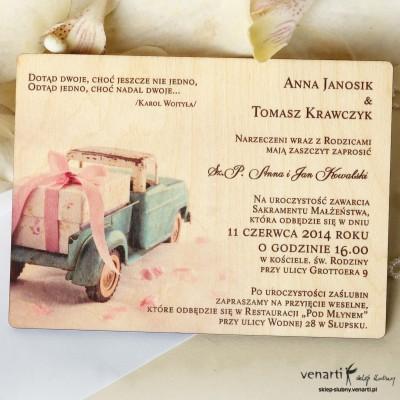 Drewniane zaproszenia ślubne Samochód z prezentem