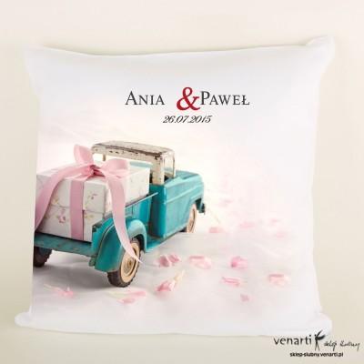Poduszka ślubna z samochodem