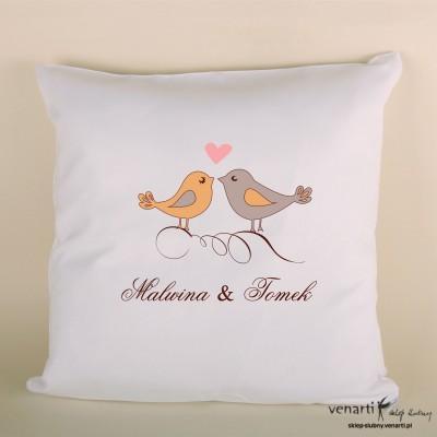 Poduszka ślubna z ptaszkami