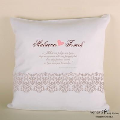 Poduszka ślubna koronkowa z motto
