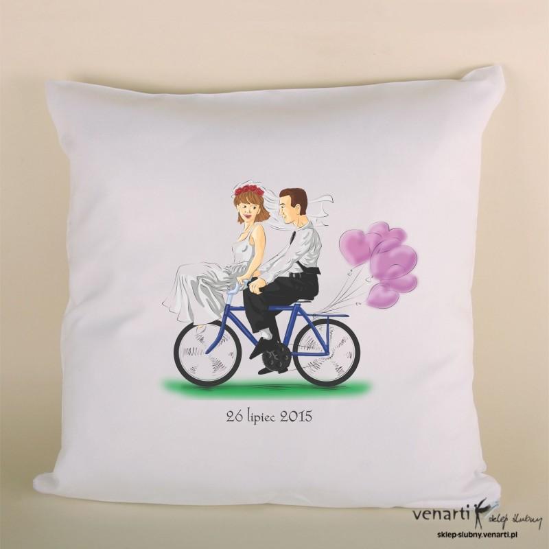 Poduszka ślubna para na rowerze PODSL019
