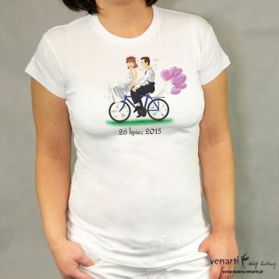 Koszulka ślubna para na rowerze