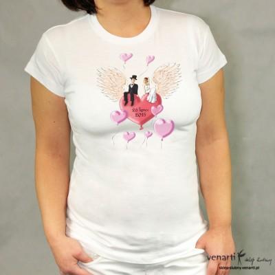 Koszulka ślubna para na sercu ze skrzydłami