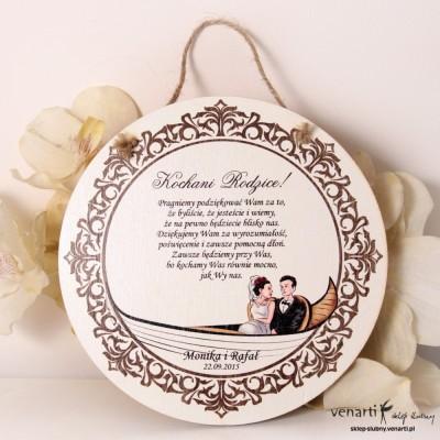 Dyplomy ślubne Vintage para w gondoli