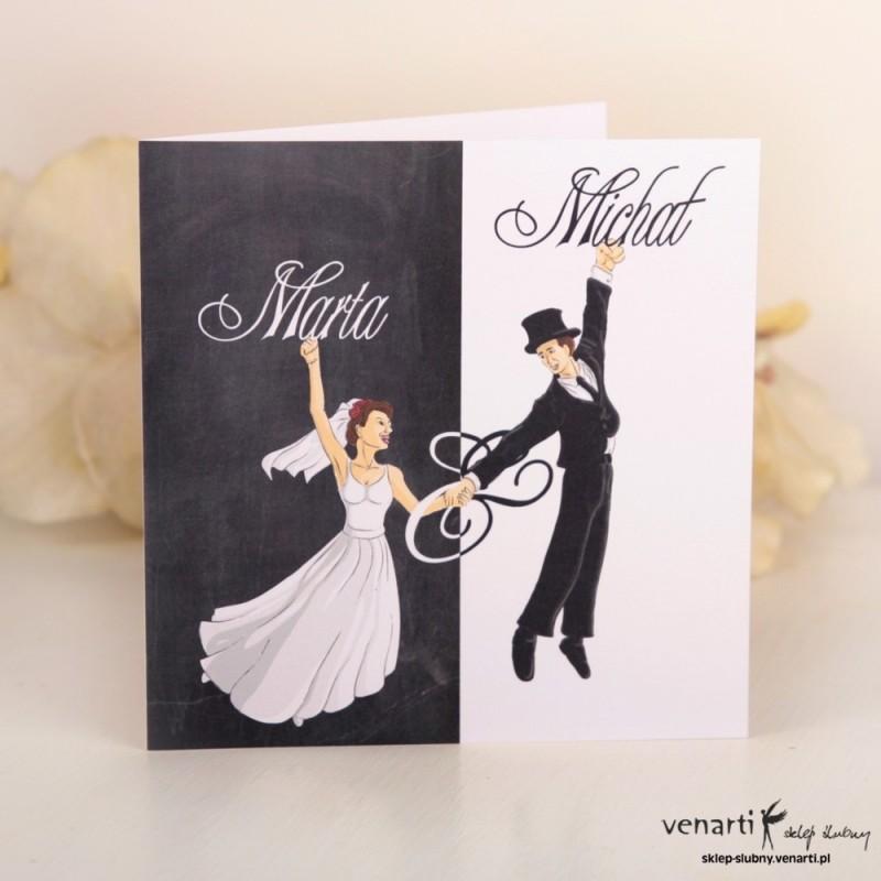 Zaproszenie ślubne czarno-białe z Parą K020