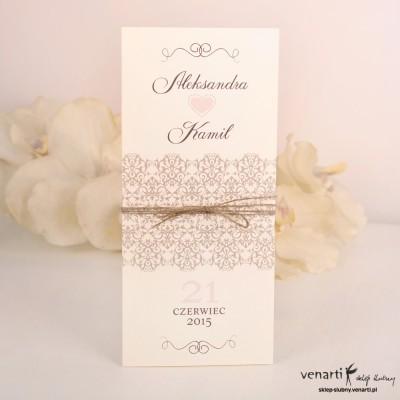 Zaproszenia ślubne wiązane sznurkiem
