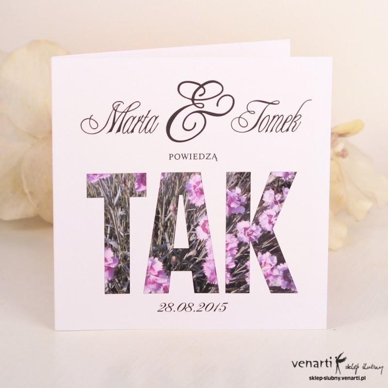Zaproszenie ślubne z napisem TAK