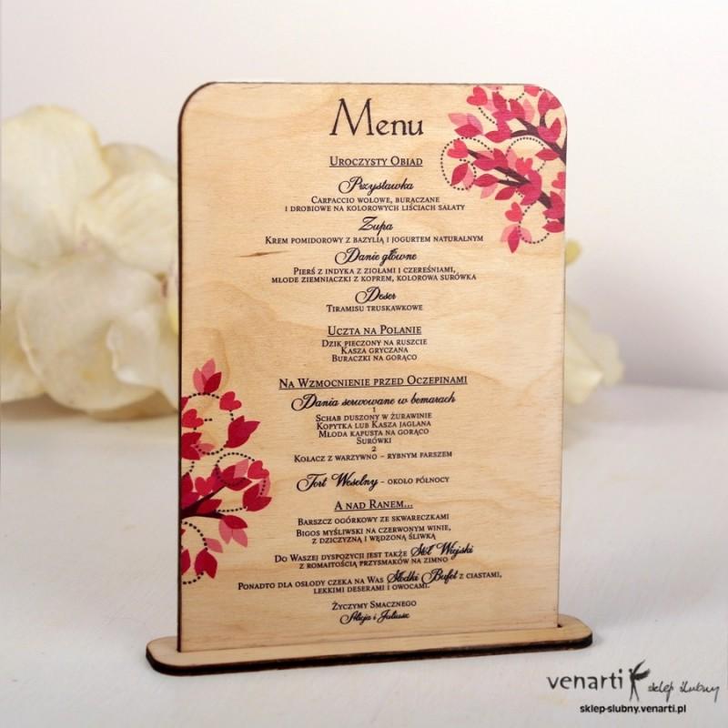 Drewniane menu weselne wzór drzewa