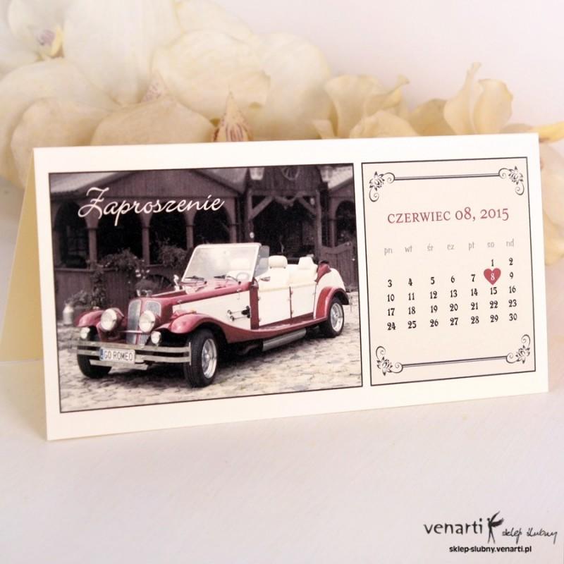 Zaproszenie ślubne Kalendarz z samochodem
