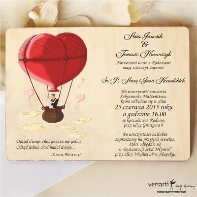 Drewniane zaproszenie Para w balonie