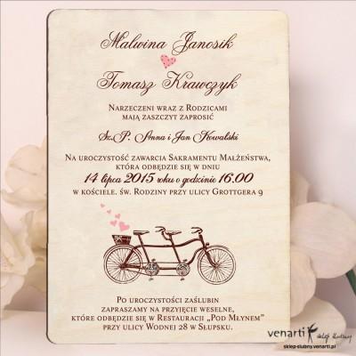 Drewniane zaproszenie Stary rower