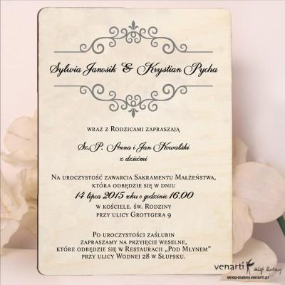 Drewniane zaproszenia ślubne Wzorek ozdobny