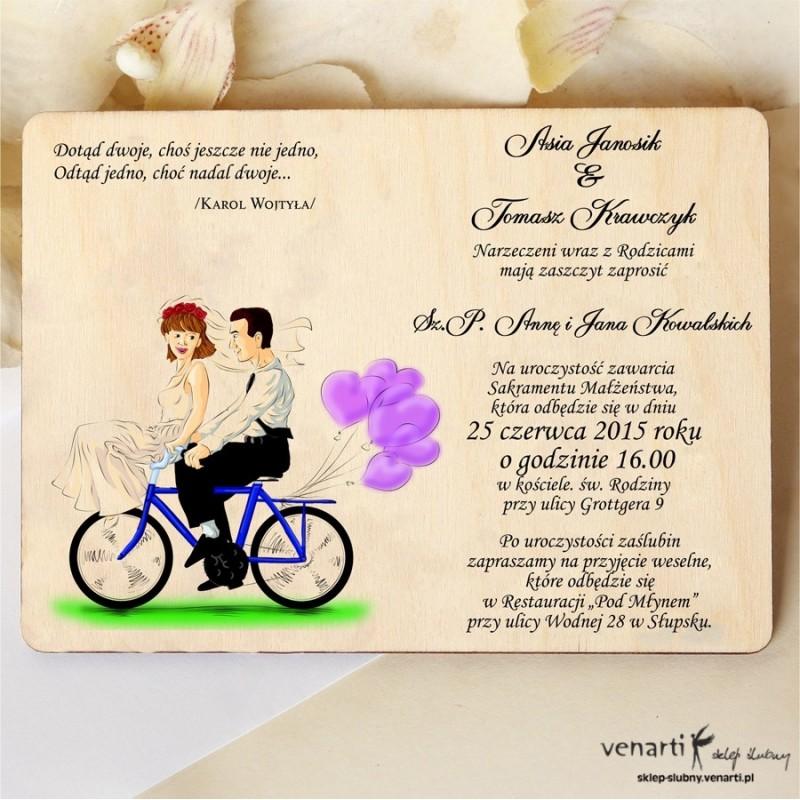 Drewniane zaproszenie Para na rowerze