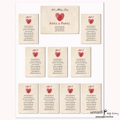 Plan stołu Serce z odcisków