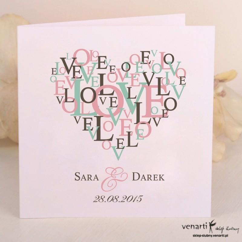 Zaproszenie ślubne z sercem LOVE