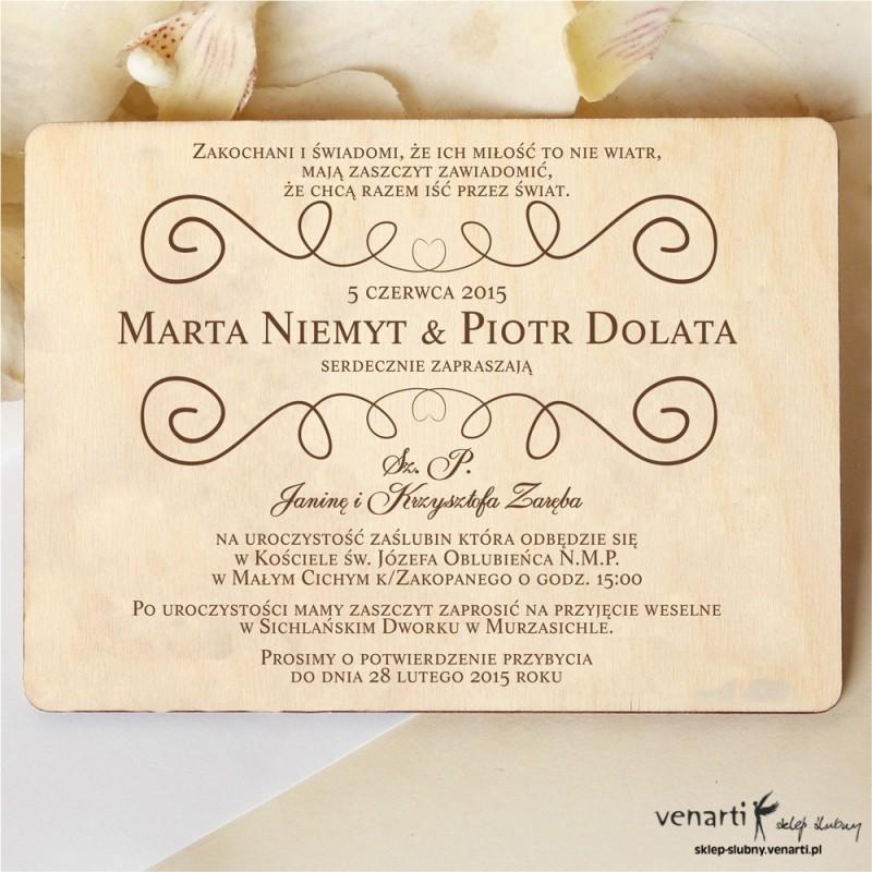 Drewniane zaproszenia ślubne Wzorek rustykany