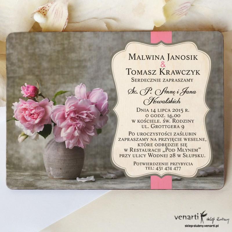 Drewniane zaproszenia ślubne Wazon z kwiatami