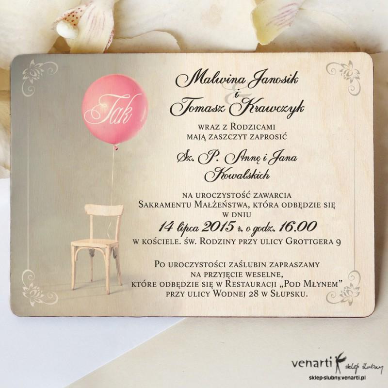 Drewniane zaproszenie Krzesło z balonem