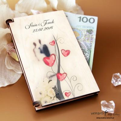 Pudełko, koperta na pieniądze PP004 Para z sercami