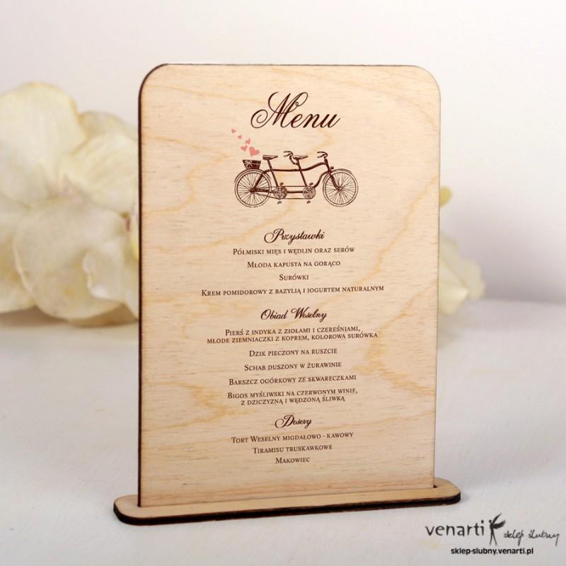 Drewniane menu weselne wzór tandemu