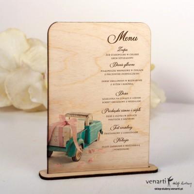 Drewniane menu weselne Auto z prezentem