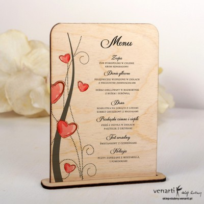 Drewniane menu weselne Serca