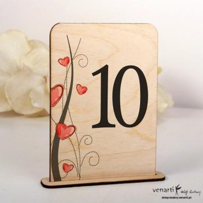 Ślubne drewniane numerki na stół NSD011