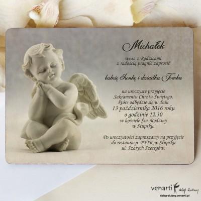 Drewniane zaproszenie na chrzest z aniołkiem 2