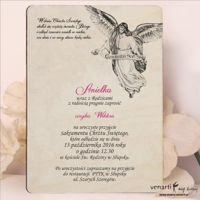 Drewniane zaproszenie na chrzest z aniołem 2