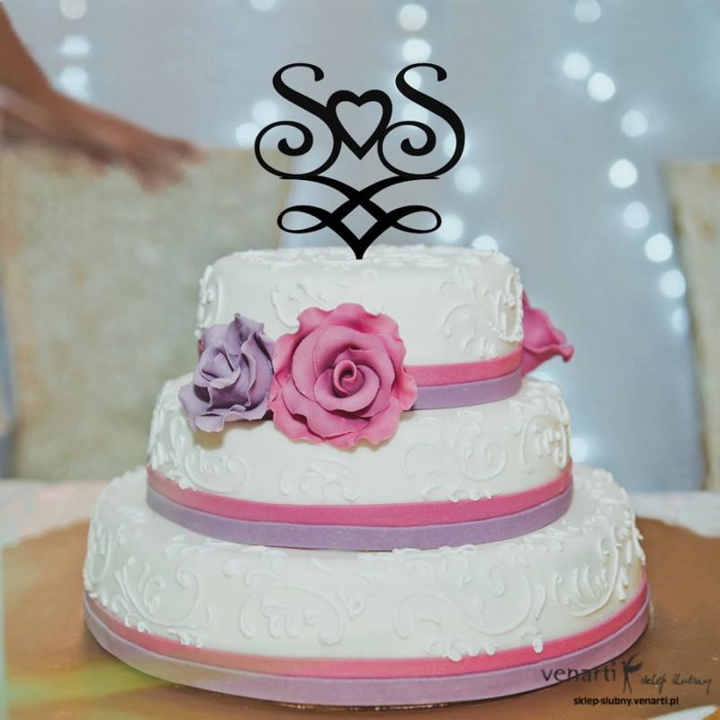 Figurki na tort Inicjały z sercem