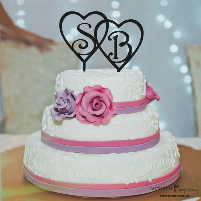 Figurki na tort Inicjały w sercu