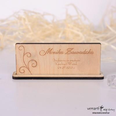 Ślubne winietki drewniane Wzorek