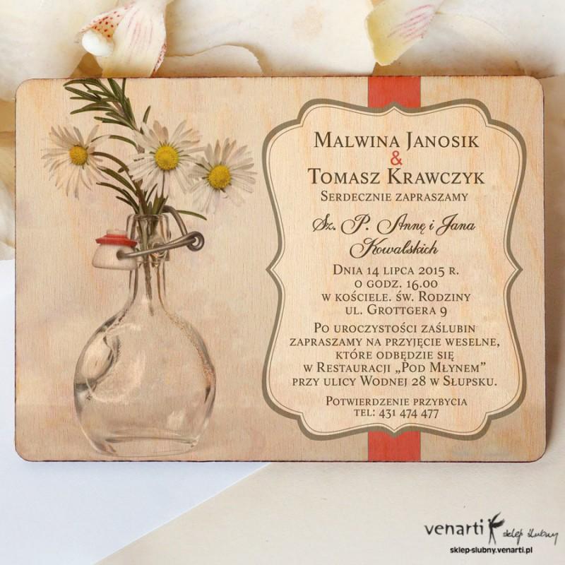Drewniane zaproszenia ślubne Kwiaty w wazonie