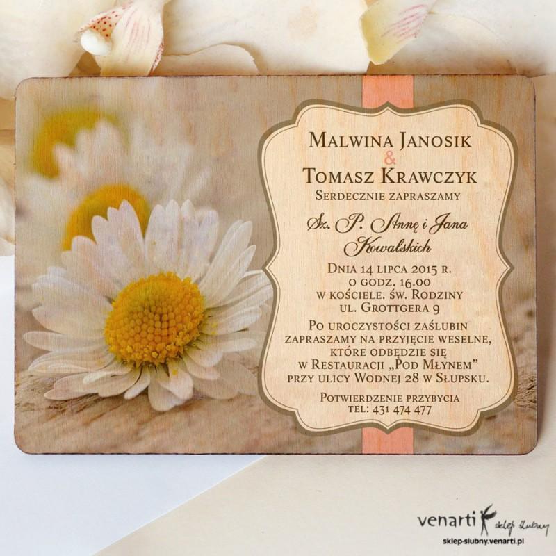 Drewniane zaproszenia ślubne Stokrotki