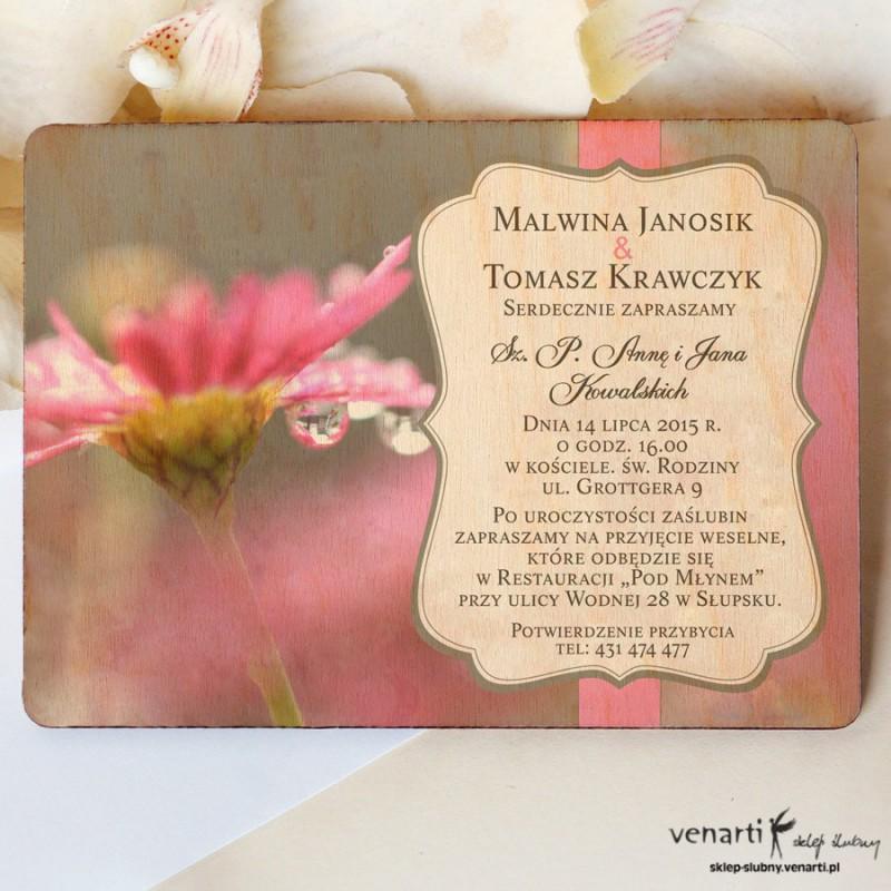 Drewniane zaproszenia ślubne Różowy kwiat