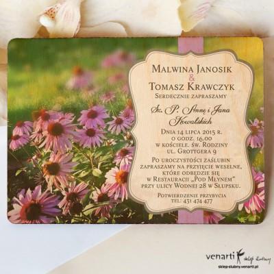 Drewniane zaproszenia ślubne Kwiaty