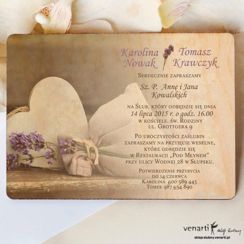 Drewniane zaproszenia ślubne Worek wrzosu z sercem
